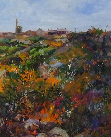 Jenny Shaw-Browne Original Painting Cornish Landscape With Tin Mine